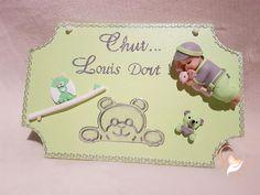 Plaque de porte bébé garçon vert et gris - au coeur des arts - Enfants - Au coeur des Arts