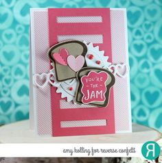 Card by Amy Kolling. Reverse Confetti stamp set: Foodie Fun. Confetti Cuts; Foodie Fun,  Tall Striped Panel, and XOXO Hearts, RC 6x6 paper pad: True Love. Valentine's card. Anniversary card Friendship card. Encouragement card.