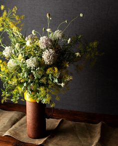 Dill and rosemary with allium. Change the water daily with this one!