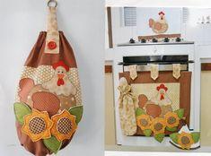 Painel para a porta do forno do fogão. Além de embelezar seu fogão, tem um porta colheres de pau e um bate mão, é novidade para seu enxoval de cozinha!  Valor do painel - 95,00  Puxa saco - 50,00  Toalha de louça - 31,00  Podemos vender separadamente.  Podemos fazer no motivo é nas cores que quiser e, ainda podemos fazer o kit completo para a sua cozinha. Solicite orçamento! R$ 176,00