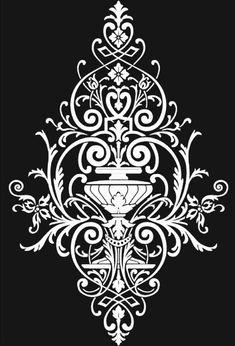 Stencil Decor, Stencil Painting, Stencil Designs, Painting Patterns, Baroque Pattern, Pattern Art, Zombie Drawings, Henna Stencils, Hand Lettering Alphabet