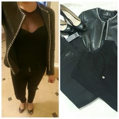 #totalblack #outfitideas #outfitoftheday #heels #NineWest #leatherjacket #blackjeans #classic