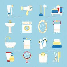 Bathroom Icon Set by macrovector Bathroom icons colored set with toothpaste and brush hairdryer isolated vector illustration. Editable EPS and Render in JPG format