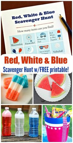 ) – FUN idea for july picnic activity or party game – Red, White & Blue hunt has 4 ways to play for little kids, big kids, tweens, teens and adults! Photo Scavenger Hunt, Scavenger Hunt For Kids, Picnic Activities, Activities For Kids, Independence Day Holiday, 21st Birthday Checklist, Treasure Hunt Clues, Dinner Games, Summer Fun For Kids