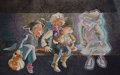 """""""Just beyond your sight"""" children's book illustration by Sherry Meidell"""