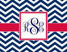 Ole Miss - Custom designed monogram stationery for sororities, college students and sports fans with a classic Greek key or chevron pattern. The