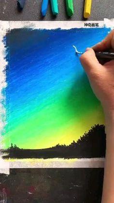 Oil Pastel Drawings Easy, Oil Pastel Paintings, Crayon Painting, Crayon Art, Art Drawings Beautiful, Art Drawings For Kids, Oil Pastel Crayons, Soft Pastel Art, Crayon Drawings