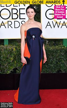 Caitriona Balfe Looks Glam In Navy & Red Gown At Golden Globes