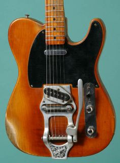 1952 Fender® Telecaster® ($22.500) Original owner set it up with a Bigsby not long after he bought the guitar, and the installation kit included a surround for the lead pickup as well as an aluminum shim plate for the neck. Original bridge unit, which serial number they are still with the guitar. The Bigsby installation instructions, a promo photo of a Telecaster with a Bigsby, and several Bigsby string wrappers. Neck: TG 7-2-52; neck pocket: Davis 6-12-52; pots: replaced in 1955. 1960s…