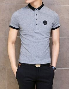 Fashion Color Block Turn-down Collar Badge Embellished Short Sleeves Cotton  Polo Shirt For Men e0d674d2cbf