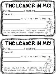 Love this FREE, positive praise form. Perfect for Leader in Me classrooms!