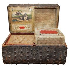 Jenny Lind Stagecoach Chest. 1850 ~ secret compartments!  .... and the etching portrays dueling monkeys!
