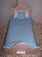 """Comforter Set For 18"""" Dolls Blue Polka Dot Handmade Multi-Color Lined Comforter Doll Accessory Matching Pillows Miniature Bedding/Bedspread"""