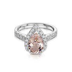 White Gold Morganite & Diamond Cluster Ring - Rings - Jewellery - Parkhouse…