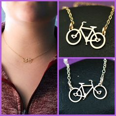 Bike Necklace - Bicycle Jewelry - Bike Charm Necklace - Cycling Gift - Biker Gift -Triathlon Gift -Gift Her -Gold Bicycle -Gold Bike