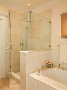"""shower--making it a little bigger. move glass, change floor--see the """"retaining wall""""?"""