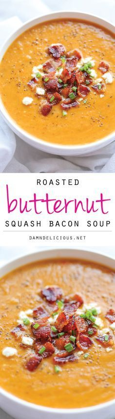 Roasted Butternut Squash and Bacon Soup - By far the best butternut squash soup ever, with the help of those crisp bacon bits blended right into the soup! paleo if no goat cheese topping Paleo Recipes, Soup Recipes, Dinner Recipes, Cooking Recipes, Recipies, Paleo Dinner, Cooking Pork, Potato Recipes, Casserole Recipes