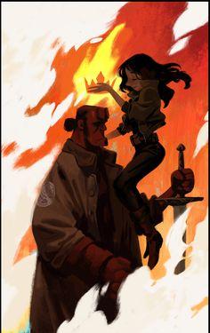 Hellboy & Liz Sherman by Mingjue Helen Chen Book Art, Comic Books Art, Comic Art, Character Design References, Character Art, Character Illustration, Illustration Art, Mike Mignola, Film D'animation