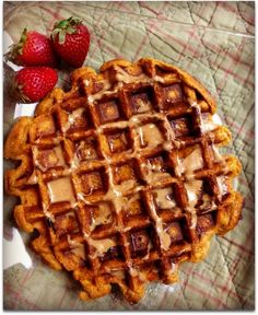 one serving Kodiak Cake mix 1/3 cup of the mix + 1/3 pumpkin puree + 1/3 cup water + 1tsp pumpkin pie spice & cinnamon , stirred together then pour into waffle maker when ready