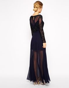 Enlarge Frock and Frill Embellished Long Sleeve Maxi Dress