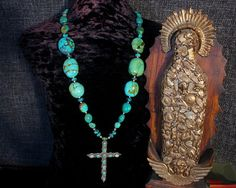 Turquoise Statement Necklace, Turquoise Cross Pendant Necklace, Southwest Jewelry, Long Necklace, Ethnic Jewelry, Native American, Tribal