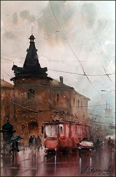 Dusan Djukaric Watercolor, 36x54 cm Dusan Djukaric was born in 1971 in Teslic, Bosnia and now he lives and works in Belgrade. Very respected and esteemed master of watercolor painting, who dominates the atmosphere of the painting with ease, equally successful in all motifs: city and genre scenes, marines, nudes, landscapes.