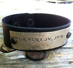 Items Similar To Coordinate Bracelet Custom Leather Father S Day Gifts Boyfriend Hand Stamped Natashaaloha On Etsy