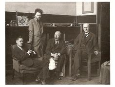 James Joyce, Ezra Pound, Ford Maddox Ford and John Quinn in Pound's Paris studio, 1924.
