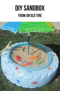 DIY sandbox from an old tire! Such a cool idea!
