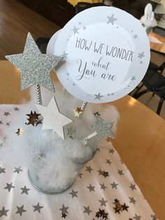 Star centerpiece from a Rustic Twinkle Star Gender Reveal Baby Shower on KARA'S PARTY IDEAS | KarasPartyIdeas.com (25)
