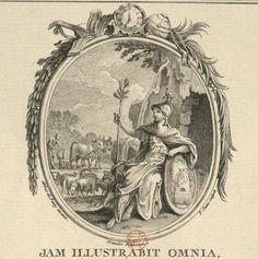 Sixième médaillon allégorique, ovale, surmonté d'une pendule, d'un globe, d'une bride, de divers instruments de musique, décoré d'une guirlande de palmes et de branches d'oliviers : [estampe]