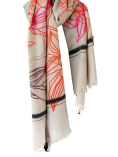 love this scarf. it's mostly neutral, and the pops of color add a lot