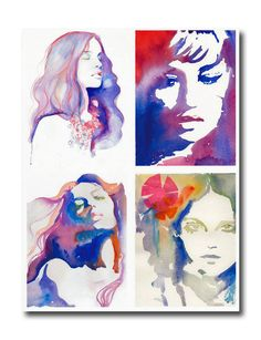 Beautiful watercolor portrait! The abstract colors are eye catching and the way the colors blend works!
