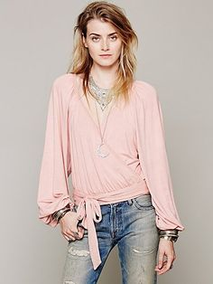 Free People Maheya Solid Wrap Top