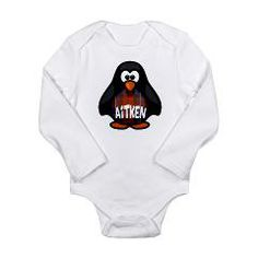 Scottish penguin with the Aitken clan tartan and family name. Cute gifts for baby, kids, and grownups! Great for birthday, holiday or any occasion.