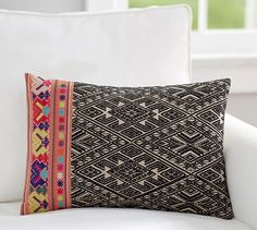 Mila Embroidered Lumbar Pillow Cover #potterybarn