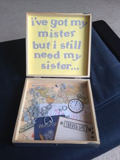 DIY how to ask bridesmaids maid of honor unfinished cigar box gray and yellow can't say I do with out you. Destination wedding. Cricut letters. I've got my mister but I still need my sister quote. small confetti rings made from cricut