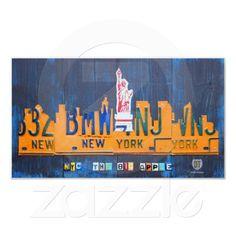 New York City Skyline License Plate Art Canvas Print - Top 5 Seller