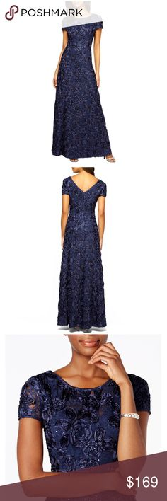 """Alex Evenings Rosette Shimmer Gown Dress Scattered sequins sparkle among the soutache roses that bloom atop a stunning lace gown left becomingly sheer at the neckline and short sleeves. The fitted bodice and V-back highlight your silhouette before giving way to a swirling flared skirt. 56"""" length  Hidden back-zip closure. Fully lined. 50% nylon, 30% rayon, 20% polyester. Dry clean or machine wash warm, line dry. Tags: Mother of the Bride, Mother of the Groom Alex Evenings Dresses"""
