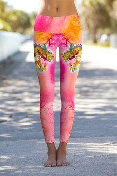 Tie Dye Pink Dragon - Printed Performance Leggings