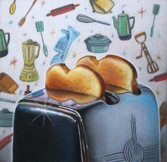Retro Kitchen Art Toaster - Nicole Caulfield Fine Art