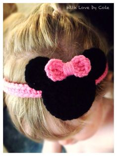 Minnie Mouse Inspired Stretch Crochet Headband by WithLoveByCole. Inspiration for Isabella's Minnie headband. Crochet Girls, Crochet Baby Hats, Love Crochet, Crochet For Kids, Knit Crochet, Crochet Headbands, Crochet Hair Accessories, Crochet Hair Styles, Crochet Crafts