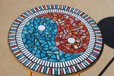 Fire and Ice Ying-Yang Mosaic Bistro Table on Etsy, $200.00