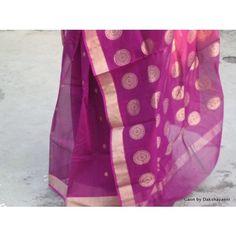 Magenta Chanderi silk with moon ring motifs