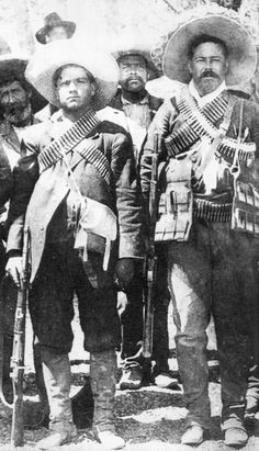 Calixto Contreras (left) with Pancho Villa. Contreras fought against the rebellion of Pascual Orozco 1912; resisted the Huerta coup in February 1913; attacked Durango in April 1913 but was repulsed; joined forces with Tómas Urbina, Domingo Arrieta and his brothers, and took Durango in June 1913; under Urbina, became a general in Francisco Villa's Division of the North
