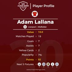 Liverpool FC's Adam Lallana is enjoying arguably his best season in the Premier League! Can he lead the Reds to the title? Pick him in your teams on www.matchkings.com now!  #MatchKhelo #pl #fpl #fantasysoccer #soccer #fantasyfootball #football #fantasysports #sports #fplindia #fantasyfootballindia #sportsgames #gamers #stats #fantasy #lfc