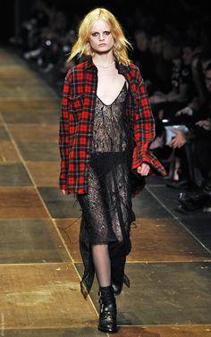 plaid + lace--saint laurent F/W 13 Grunge Trends, Fashion Identity, Neo Grunge, Smells Like Teen Spirit, Saint Laurent Paris, Spring Summer, Summer 2014, Fashion Show, Runway