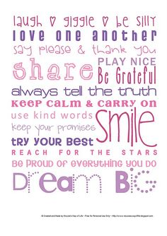 Words to Live By Free Printable