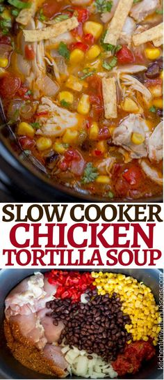 Dinner Recipes crockpot Slow Cooker Chicken Tortilla Soup is the perfect dump and cook soup that will ke. Slow Cooker Chicken Tortilla Soup is the perfect dump and cook soup that will keep you warm as the weather cools down and it& healthy to boot! Crock Pot Slow Cooker, Crock Pot Cooking, Cooking Recipes, Slow Cooker Tortilla Soup, Slow Cooker Meals Healthy, Slow Cooker Dinners, Cooking Games, Cooking Rice, Cooking Bacon