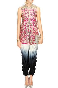 Fuschia pink heavy embroidered jacket with shaded black and white dhoti pants